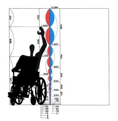 """Fotomontaje del """"modulor"""" del arquitecto Le Corbousier con una persona en silla de ruedas. Autoría eCapaz."""