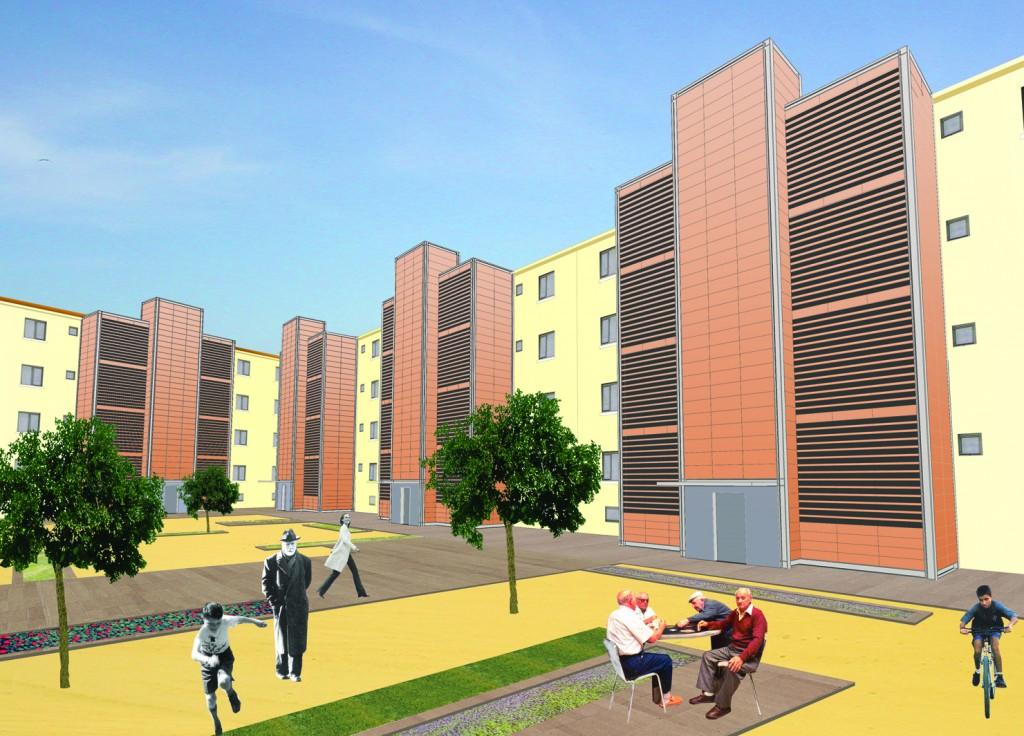 Fotomontaje de vivienda colectiva y utilización del espacio público. Autoría eCapaz.