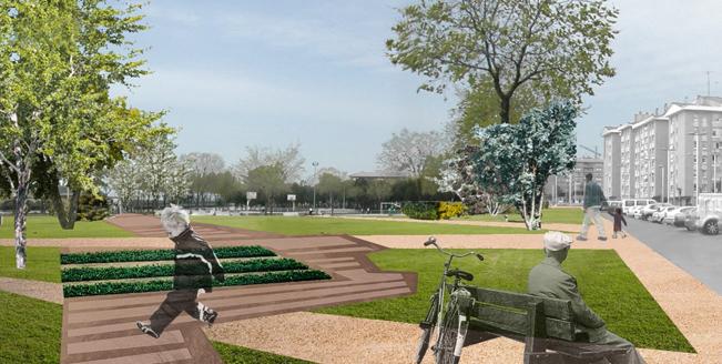 Fotomontaje de parque publico. Autoría eCapaz.